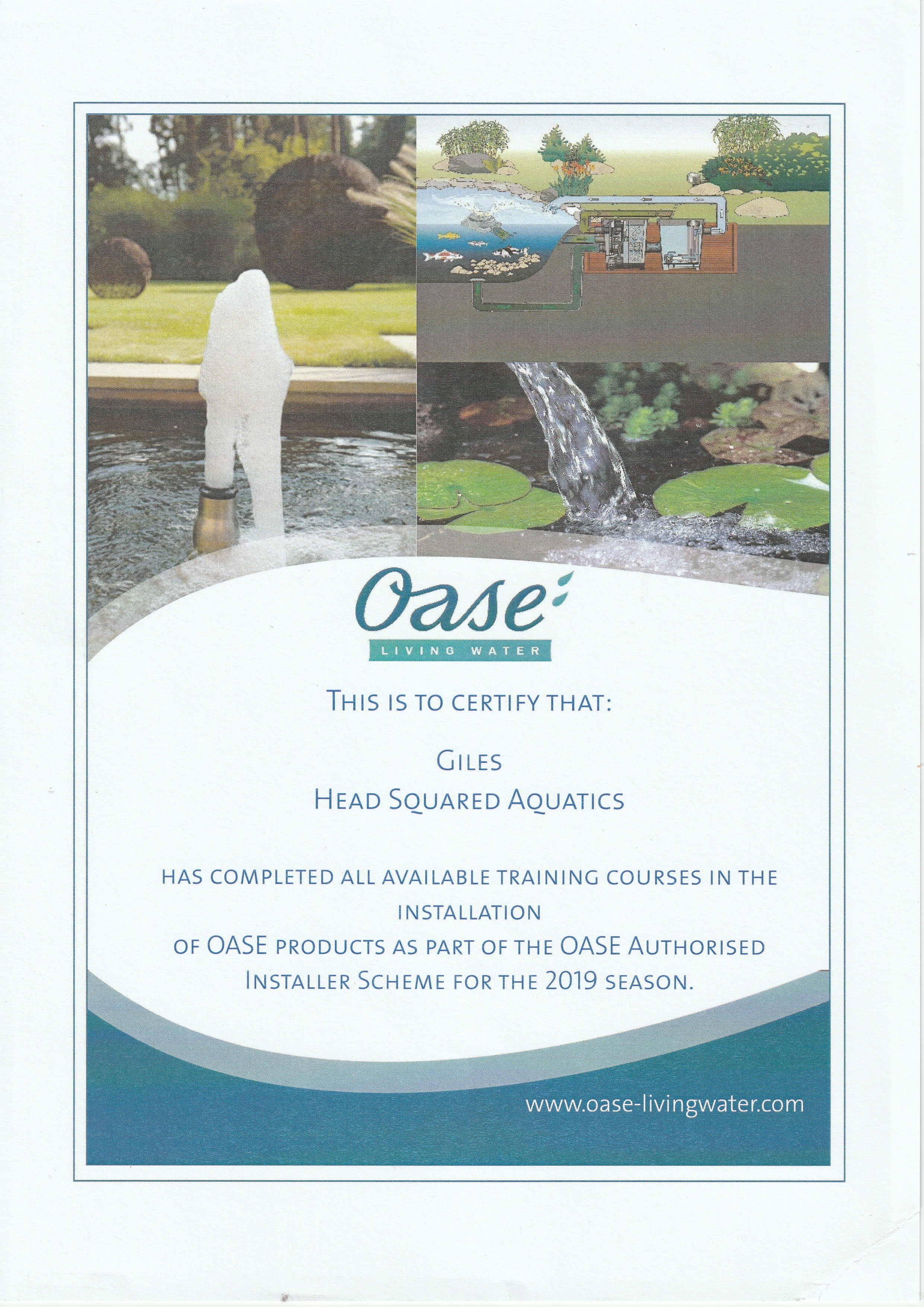 Giles Head - Oase Approved Installer