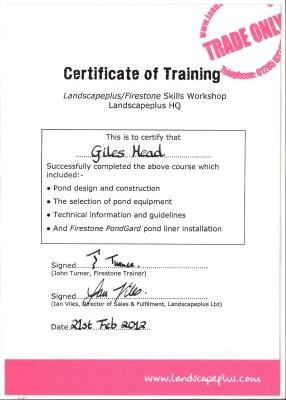 Giles Head - Firestone Certificate
