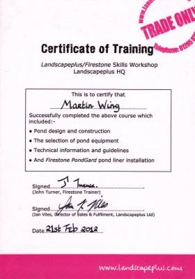 Martin Wing - Firestone Liner Certificate