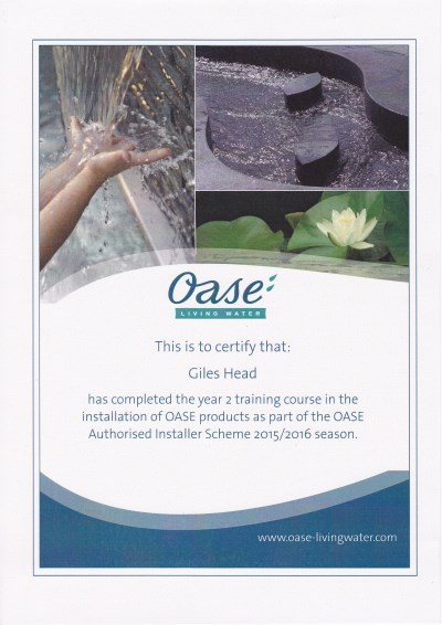 Oase Authorised Installer Scheme