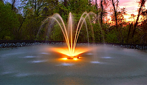 Lake fountain system with lights