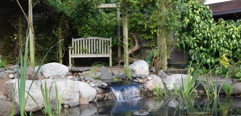 Slate Waterfall into pond