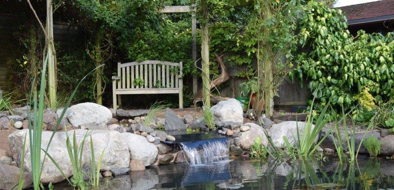 Slate Waterfall into pond
